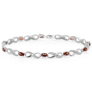 Elora Sterling Silver Oval Garnet and 2 3/4ct TDW Diamond Infinity Link Tennis Bracelet (I-J, I2-I3)