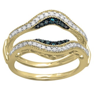 14k Gold 1/2ct TDW Round Blue and White Diamond Band Guard Double Ring Enhancer (H-I, I1-I2)