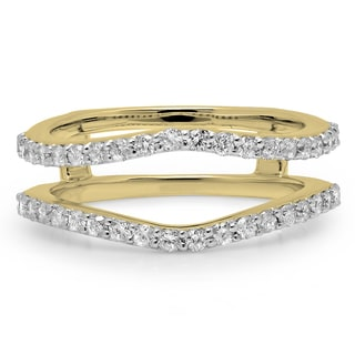 14k Yellow Gold 1/2ct TDW Round Diamond Anniversary Band Enhancer Guard Double Ring (H-I, I1-I2)