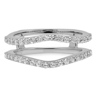 10k White Gold 1/2ct TDW Round Diamond Anniversary Band Enhancer Guard Double Ring (H-I, I1-I2)