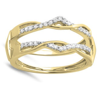 Elora 14k Yellow Gold 1/4ct TDW Round Diamond Anniversary Band Enhancer Guard Double Ring (H-I, I1-I2)