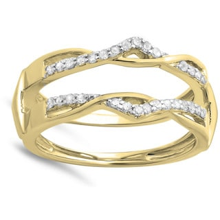 14k Yellow Gold 1/4ct TDW Round Diamond Anniversary Band Enhancer Guard Double Ring (H-I, I1-I2)