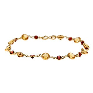 14k yellow gold citrine & garnet bracelet