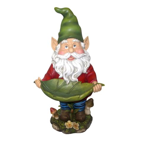 Alpine Gnome with Leaf Birdfeeder Statue, 16 Inch Tall