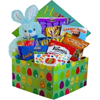 Easter Bunny Care Package Gift Box of Chocolate and Candy Treats Blue or Pink/ Purple