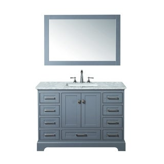 Stufurhome Grey 48-inch Single Sink Bathroom Vanity with Mirror