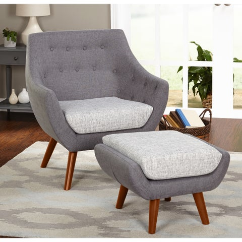 Simple Living Elijah Mid Century Gray Chair and Ottoman Set - N/A