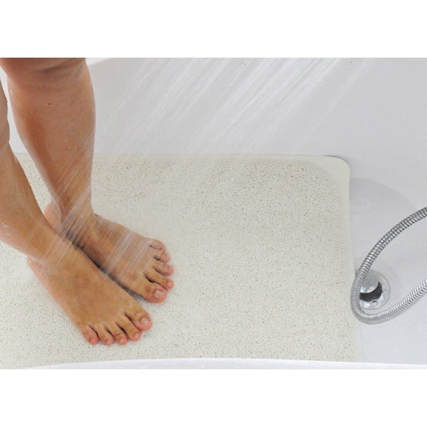 Two Elephants White Plush and Soft Shower Floor Mat