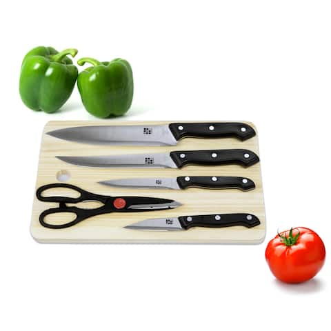 Home Basics 6-piece Stainless Steel Knife Set with Wood Cutting Board - Brown/Black