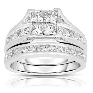Eloquence 10k White Gold 2ct TDW Diamond Composite Bridal Set (J-K, I2-I3)