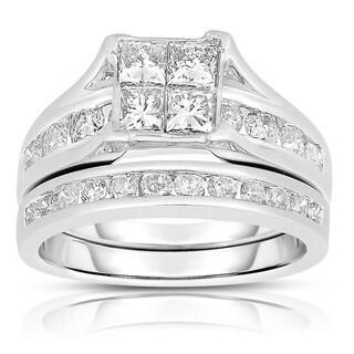 Eloquence 10k White Gold 2ct TDW Diamond Composite Bridal Set (J-K, I2-I3) (5 options available)