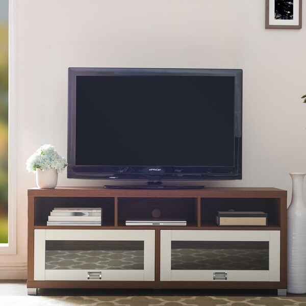 baxton studio swindon walnut and white twotone finish modern tv stand with glass doors