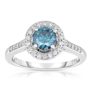 Eloquence 14k White Gold 1 1/3ct TDW Blue Diamond Engagement Ring (Blue, I1-I2)