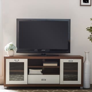 Baxton Studio Matlock Modern Glass Door Dark Brown And White Two Tone Finish TV Stand