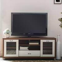 Baxton Studio Matlock Modern Glass Door Dark Brown And White Two Tone Finish TV Stand