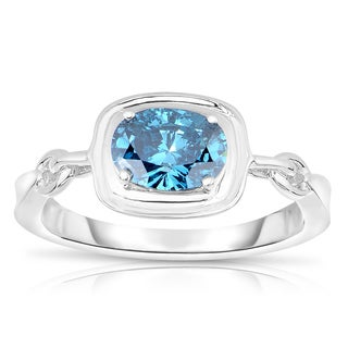 Eloquence 14k White Gold 1ct TDW Blue Diamond Ring (Blue, I1-I2)