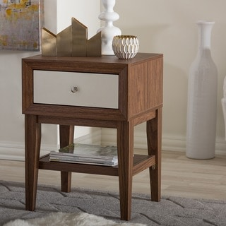Gaston Brown And White Two Tone Finish Modern Mid-century Style Nightstand