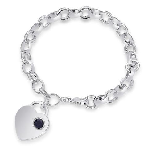 Dolce Giavonna Silver Overlay Gemstone Birthstone and Diamond Accent Heart Charm Bracelet