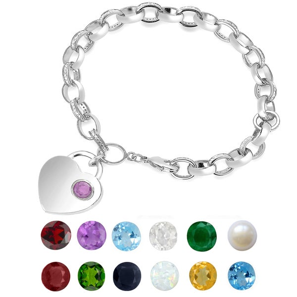 Dolce Giavonna Silver Overlay Gemstone Birthstone and Diamond Accent Heart Charm Bracelet. Opens flyout.