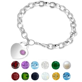 Dolce Giavonna Silver Overlay Gemstone Birthstone and Diamond Accent Heart Charm Bracelet