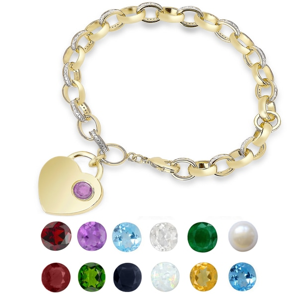 Dolce Giavonna Gold Overlay Gemstone Birthstone and Diamond Accent Heart Charm Bracelet. Opens flyout.