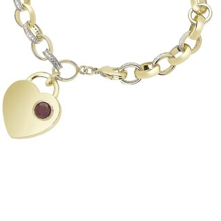 Dolce Giavonna Gold Overlay Gemstone Birthstone and Diamond Accent Heart Charm Bracelet