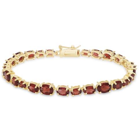 Dolce Giavonna Gold Over Sterling Silver Garnet Tennis Style Bracelet