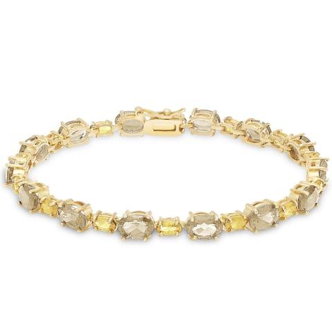 Dolce Giavonna Gold Over Sterling Silver Gemstone Tennis Style Bracelet