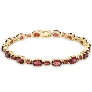 Dolce Giavonna Gold Over Sterling Silver Gemstone Tennis Style Bracelet
