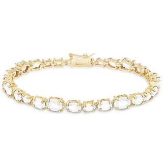 Dolce Giavonna Gold Over Sterling Silver Cubic Zirconia Tennis Style Bracelet