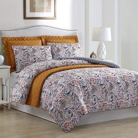 Amrapur Overseas Gaia Paisley Reversible 6-piece Comforter Set with Bonus Coverlet Set
