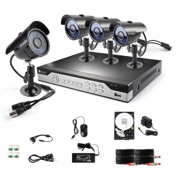 Zmodo 8-channel 960H HDMI DVR Surveillance Security System with 4 High-Res  Weatherproof Cameras and 1TB HDD Installed