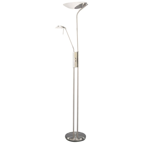 Lite Source Lucien Fluorescent Torchiere/Reading Lamp, Polished Steel