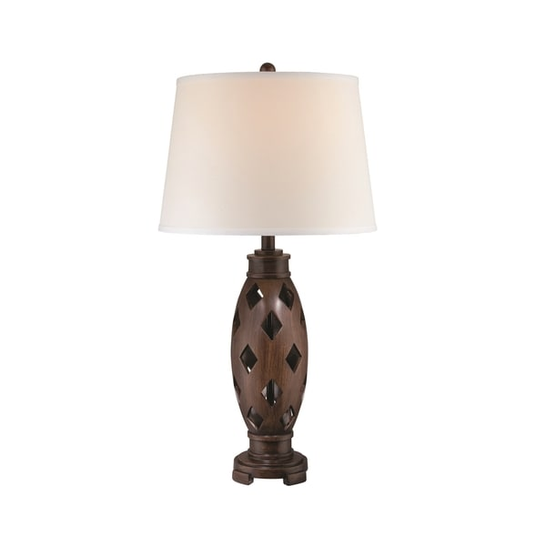 Lite Source Norah Fluorescent Table Lamp, Dark Walnut