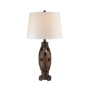 Lite Source Norah Fluorescent Table Lamp, Dark Walnut