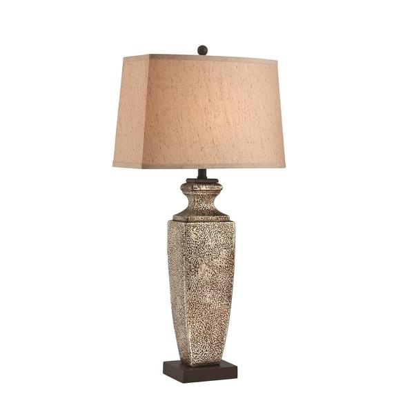 Lite Source Hans Fluorescent Table Lamp, Dark Brown, Antique Gold