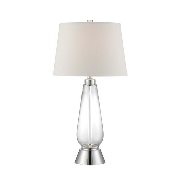 Lite Source Danya Fluorescent Table Lamp, Polished Steel, Clear