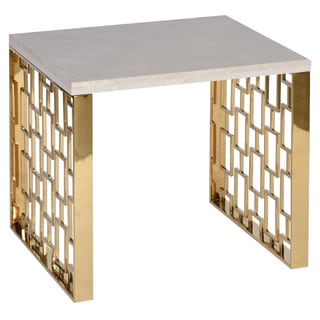 Skyline End Table With White Top and Gold Metal Base