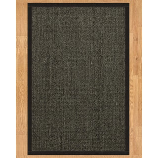 Handcrafted Shadows Sisal 6' x 9' Rug - Black with Bonus Rug Pad - 6' x 9'