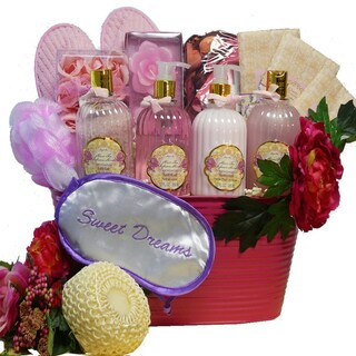 Sweet Dreams Spa Bath and Body Gift Basket (Pink, Peony Scent)
