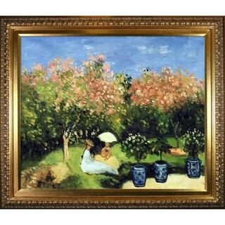 Claude Monet 'The Garden' Hand Painted Framed Canvas Art