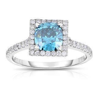 Eloquence 14k White Gold 1 1/4ct TDW Blue Diamond Engagement Ring (Blue, SI1-SI2)