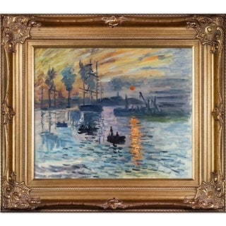 Claude Monet 'Impression, Sunrise' Hand Painted Framed Canvas Art