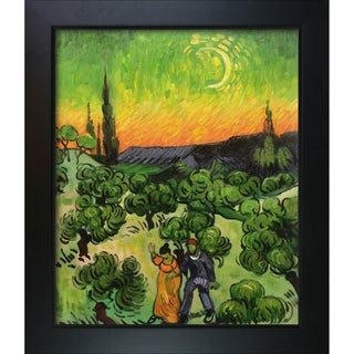 Vincent Van Gogh 'Landscape with Couple Walking and Crescent Moon' Hand Painted Framed Canvas Art