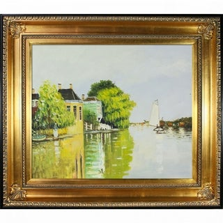 Claude Monet 'Houses on the Achterzaan' Hand Painted Framed Canvas Art