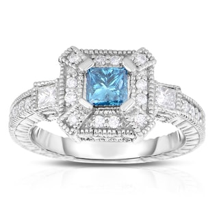 Eloquence 14k White Gold 7/8ct TDW Blue and White Diamond Ring (Blue, I1-I2)