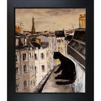 Atelier De Jiel 'Black Cat on Roofs of Paris' Framed Fine Art Print