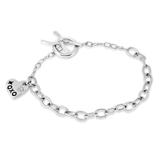 Eloquence Sterling Silver Diamond Accent 'XOXO' Charm Bracelet (H-I, I1-I2)