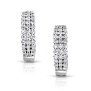 Eloquence 14k White Gold 3ct TDW Diamond Triple-Row Hoop Earrings (H-I, I1-I2)