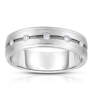 Eloquence 14k White Gold 1/6ct TDW Diamond Mens Wedding Band